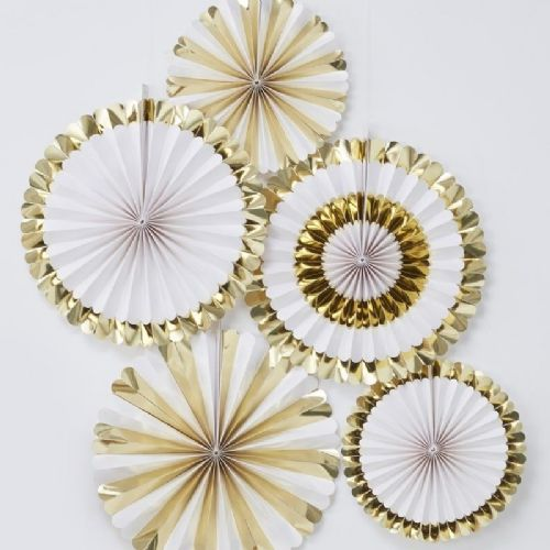 Oh Baby Gold Foiled Fan Decorations (5pk)